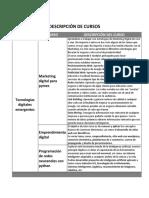 Descripción de los cursos de las especialidades de la capacitación
