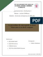 LA PROCEDURE DE SAUVGARDE EN DROIT MAROCAIN ET EN DROIT COMPARE