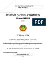Notice du concours national d'ingenieur mauritanien CNIM 2021