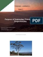 Week 2 2021 – Purposes of Sentencing, Principles and Proportionality