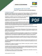 Propositions de l'UC à l'UNI