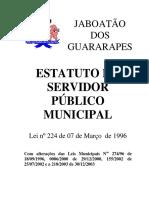 Estatuto do Servidor Jaboatão dos Guararapes - Lei 224-96