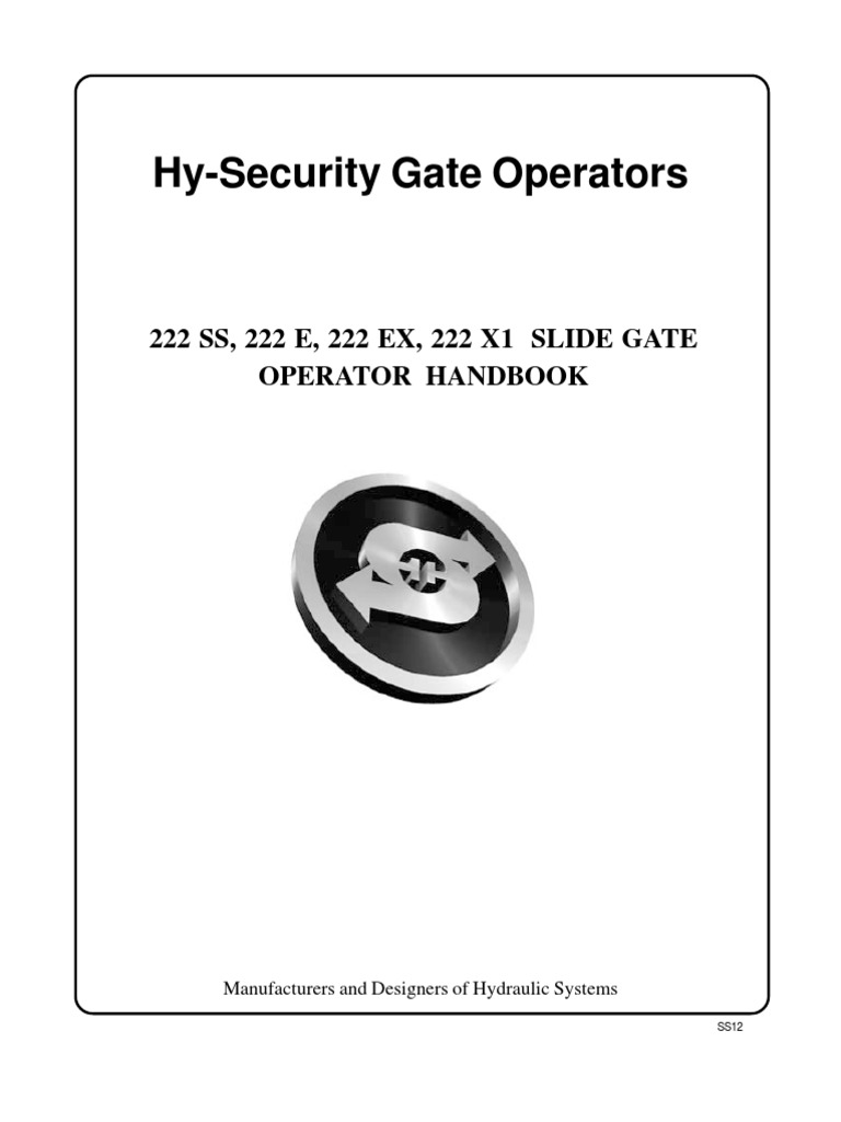 Hysecurity Wiring Diagram Library Gate Opener Furthermore Valve On Automatic Osco Sliding Operators Replacement Parts Hslg Operator 222s Manual Electrical Connector