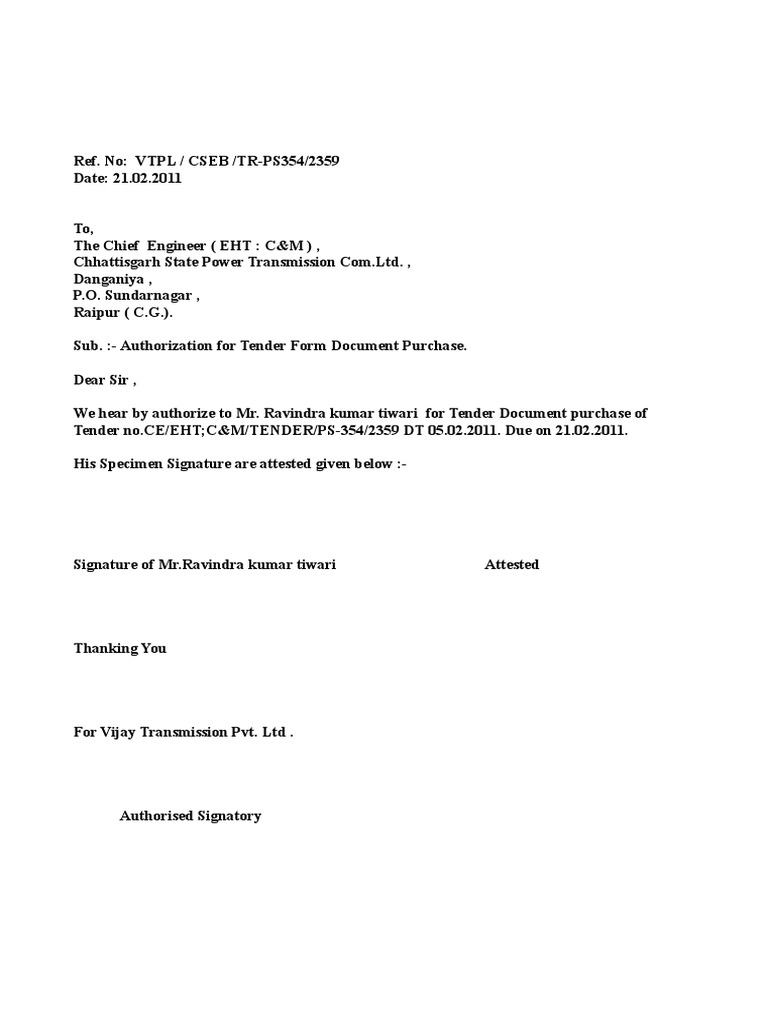 Authorization Letter to Collect Document – Release of Debt Letter