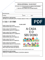 AVALIAÇÃO  1º BIMESTRE  LÍNGUA PORTUGUESA - 1º ANO- 2021 HALIM SOUKI