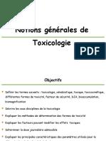 Notions de toxicité 2019-2020