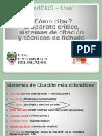Cómo citar El aparato crítico, sistemas de citación y técnicas de fichado.pptx