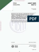 NBR 5647-2-2019 Sistema para aducao e distribuicao de agua - Tubos e conexoes de PVC-U 6.3 com junta elástica e com diametros nominais ate DN 100