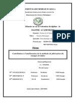 UNIVERSITE KASDI MERBAH OUARGLA. Faculté Des Sciences de La Nature Et de La Vie Département Des Sciences Biologiques MASTER ACADEMIQUE.