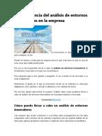 La importancia del análisis de entornos innovadores en la empresa