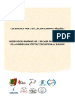 CVR Burundi - Observation Sur Le 1e Rapport d'Étape de La CVR