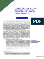 Productivité et innovation - incidence sur le MT et le MBS