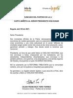 Carta Abierta Al Presidente del Partido de la U
