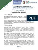 Protocolo de reactivacion de gimnasios con espacios abiertos y centros deportivos Sanitario BCS