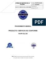 PG-PP-CAL-003 Producto Servicio No conforme Rev 0