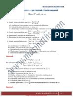 Serie d'exercices (Lycée pilote) - Math - Limites continuité et dérivabilité - 3ème Math  Sciences