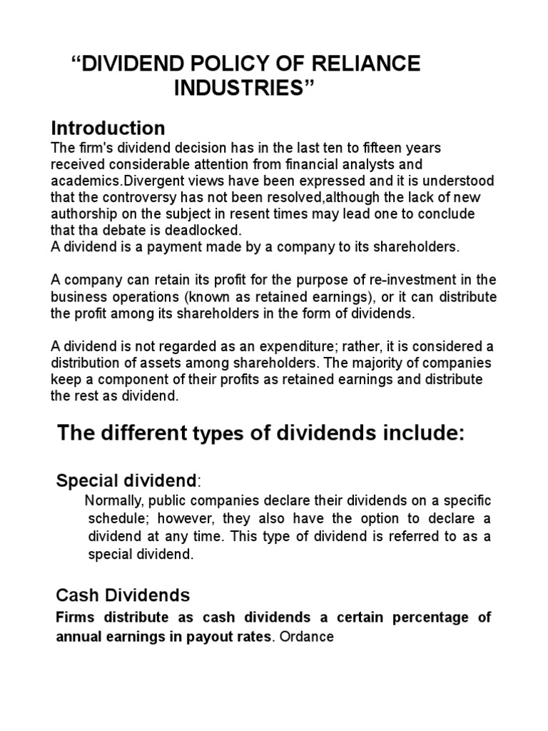 dividend policy of reliance industries itd