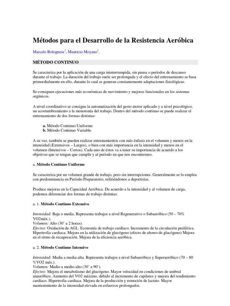 metodos de trabajo de resistencia aerobica