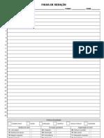 Folha de redação com critério de correção