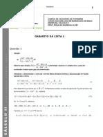 37350-Gabarito_da_Lista_1_-_Cálculo_II_-_Integração_por_Frações_Parciais_1_-_1_Semestre_-_2011