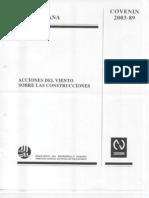 COVENIN 2003-89-ACCIONES DE VIENTO SOBRE LAS EDIFICACIONES