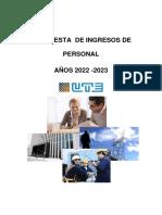 Informe Interno Ute - Propuesta de Ingreso de Personal 2022-2023