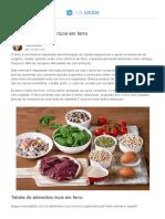Alimentos ricos em ferro (de origem animal e vegetal) - Tua Saúde