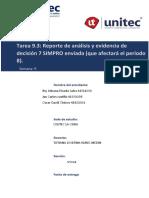 Tarea 9.3 Reporte de análisis y evidencia de decisión 7 SIMPRO enviada que afectará el período 8