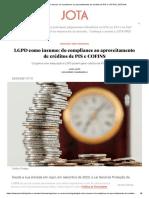LGPD como insumo_ do compliance ao aproveitamento de créditos de PIS e COFINS _ JOTA Info