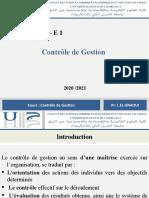 Séance 1  Controle de Gestion S6 G - E1 -  20 - 21 - Séance 1