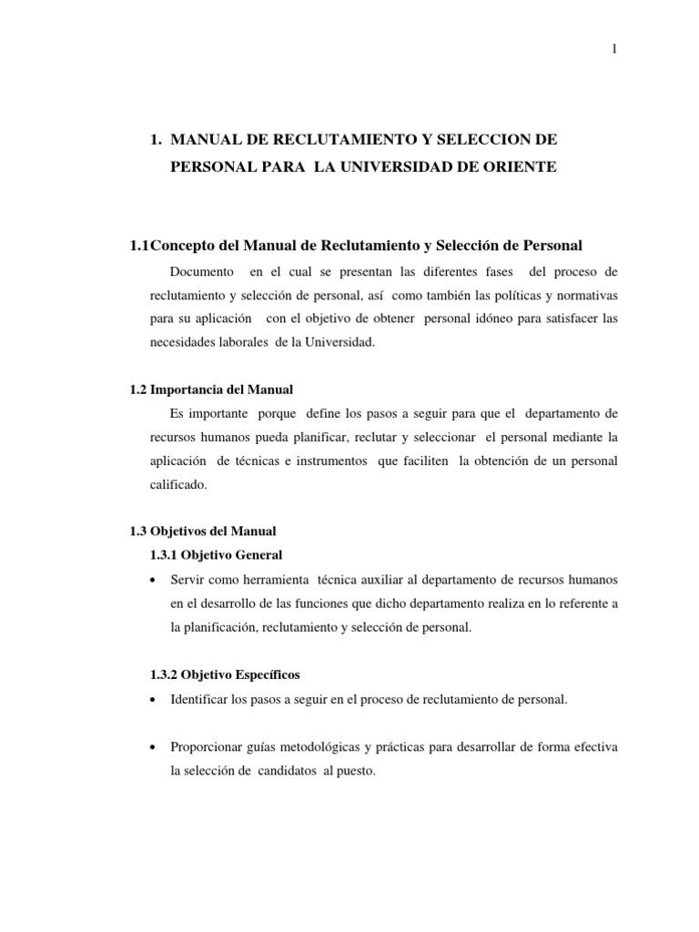 Manual de reclutamiento y selección de personal.