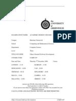 Sample of Object Oriented Software Development Exam (Dec 2006) - UK University BSc Final Year