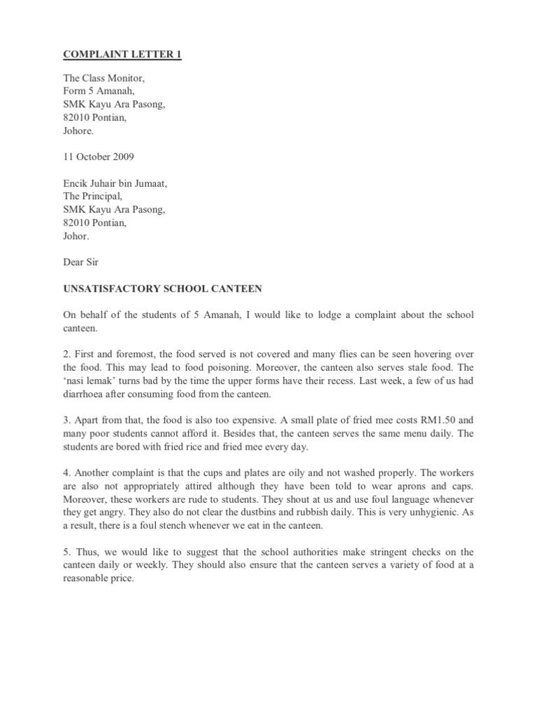 COMPLAINT LETTER 1 Financial Transaction – Formal Complaint Letter