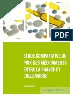Etude Comparative Du Prix Des Médicaments Entre La France Et l'Allemagne