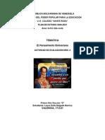 TERCERA ACTIVIDAD HISTOTIA DE VNEZUELA  EL PENSAMIENTO BOLIVARIANO