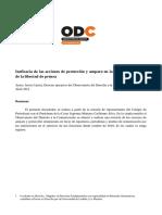 Informe ODC - Ineficacia de las acciones de protección y amparo en la tutela del ejercicio de la libertad de prensa (abril 2021)