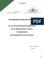 APITI AQUAP 2015 recommendations pour la simplification du suivi en service