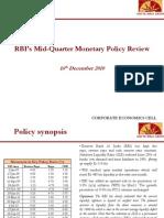 RBI Mid Quarter Monetary Policy Review - 16-Dec 2010