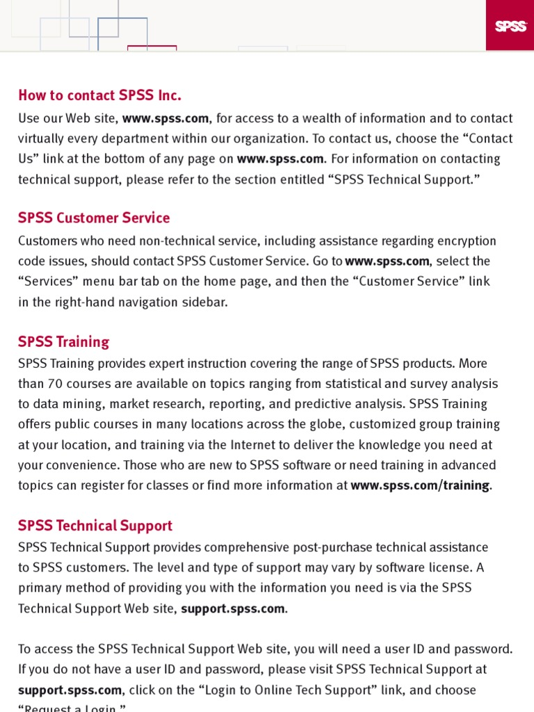 ProductRegistration | Technical Support | Spss