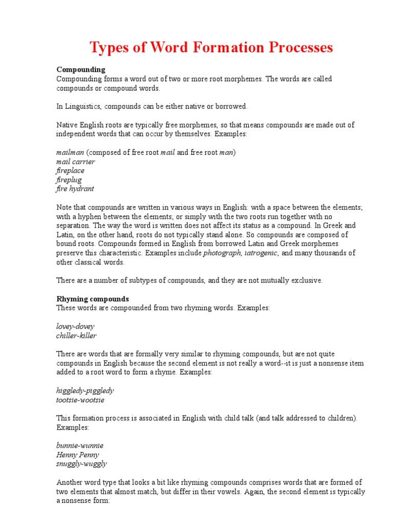 Morphemic analysis compound words