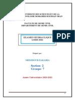 LMD3 EXAMEN Hydraulique 2021