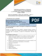 Guia de actividades y Rúbrica de evaluación - Fase 1 - Reconocimiento de la importancia de la calidad