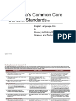 California Education English Language Arts Core Common Standards Recommendations (Updated, 2010)