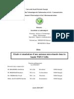 Etude et simulation d'une antenne microbande dans la  bande WiFi 5 GHz
