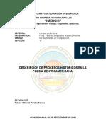 DESCRIPCIÓN DE PROCESOS HISTÓRICOS EN LA POESÍA CENTROAMERICANA.