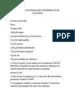 PANECILLOS INTEGRALES CON SEMILLAS DE CALABAZA - Receta