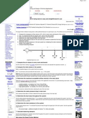 Equal friction method 1 | Duct (Flow) | Hvac