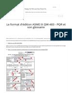 Le format d'édition ASME IX QW-483 - PQR et son glossaire