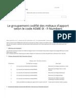Le groupement codifié des métaux d'apport selon le code ASME IX - F-Numbers