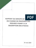 Rapport du groupe de travail en charge de proposer des mesures visant à la résorption des stocks